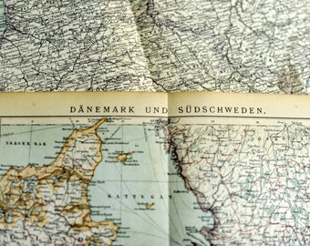 1897 Antique Map of Denmark and South Sweden - N102 - Denmark Antique Map - Sweden Antique Map