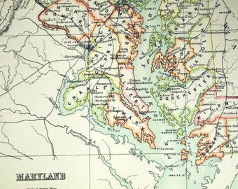 1890 Large Special Library Edition Antique Map of Connecticut and Maryland
