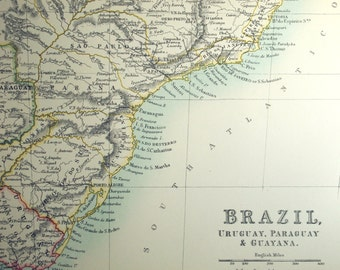 1890 Antique Map of Brazil, Uruguay, Paraguay, and Guayana - Special Library Edition - Large - Brazil Uruguay Paraguay Guayana Vintage Map