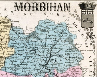 Antique Map of Morbihan , France - 1883 Illustrated Map - Handcolored - Vintage Map - Home Decor