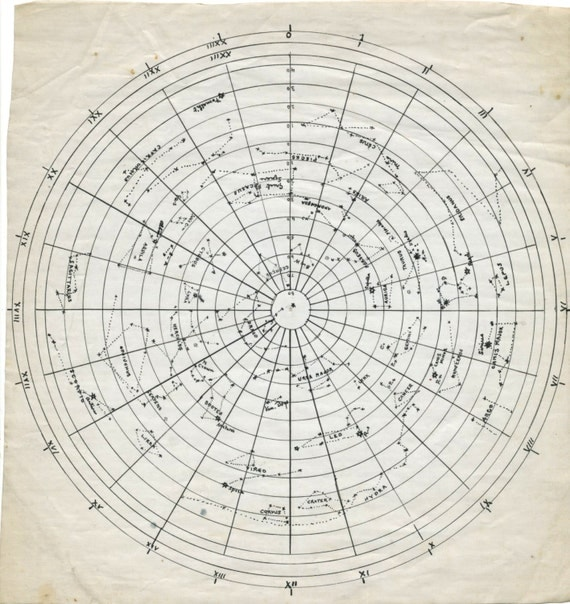 Wedding Star Chart: Set Of Three Star Charts Hand-drawn In Pen And Ink Ca. 1900