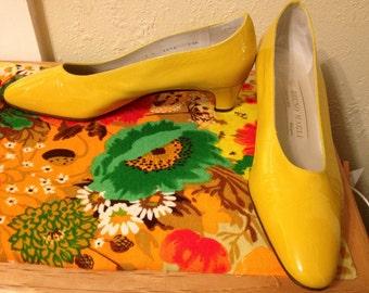 Bruno magli mad men yellow patent leather pump
