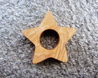 Wooden Star Teether Natural Waldorf Teething Toy