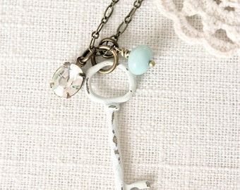 Vintage style shabby chic key charm necklace.  Amazonite beaded with a vintage glass rhinestone.