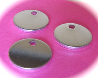 10 Polished 3/4 Inch Discs 14 Gauge ONE 2mm HOLE Heavy Weight Pure Food Safe Metal - 10 Discs