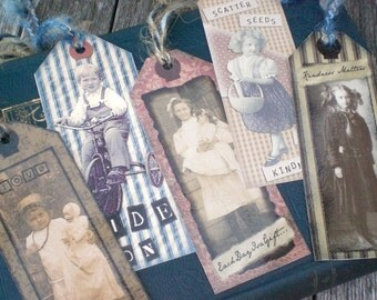 Primitive Cottage Chic Library Reading Book Lover Bookmarks Set of 5
