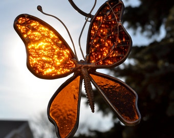 Woodland Brown Stained Glass Butterfly