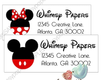 Mickey Mouse or Minnie Mouse Return Address Labels - Glossy Labels