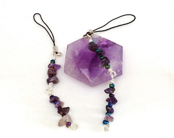 Two (2) Amethyst  Flash Drive Lariat Charms made with Semi Precious Stone Chips
