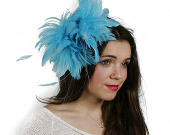 Turquoise Fascinator  Hat for Weddings, Occasions and Parties