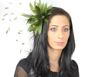 Spike Olive Fascinator Kentucky Derby or Wedding Hat With Headband