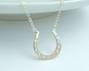 silver horseshoe necklace. lucky charm jewelry. good luck. sterling silver. simple everyday. equine. equestrian. horse shoe pendant.