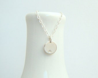 tiny diamond necklace small sterling silver circle 1 pt stone simple modern delicate everyday april birthstone dainty jewelry gift her 3/8""