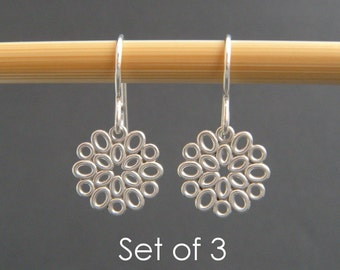 "bridesmaid gifts. SET OF 3. small silver filigree oval earrings. sterling silver dangle. flower drop. bridal earrings. wedding jewelry. 1/2"""