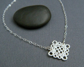 """silver circle necklace. sterling silver geometric necklace. small square. everyday. simple. modern filigree. delicate. dainty jewelry 5/8"""""""