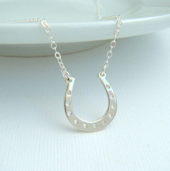 Silver Horseshoe Necklace Lucky Charm Jewelry Good Luck