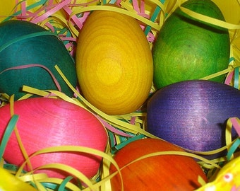 Rainbow  Wooden Easter Eggs  and Easter Basket - Set of Six Wooden Easter Eggs