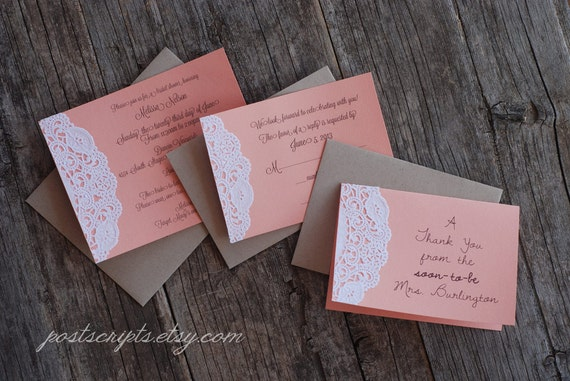 Items similar to Custom Coral and Lace Doily Invitations Shabby – Handmade Engagement Party Invitations
