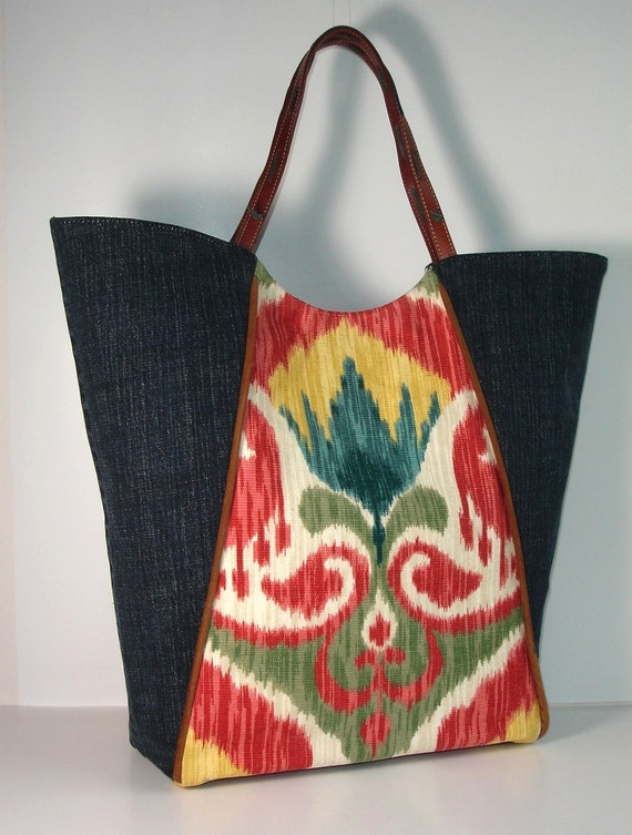 boho Ikat and blue jean upcycled Tote Bag