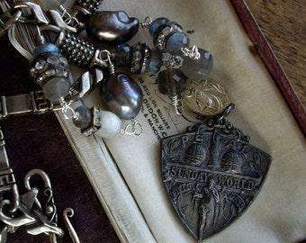 Antique Assemblage Necklace Sterling Silver Medal Labradorite Pearls Moonstones