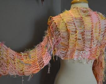 Dumpster Diva 'Candyshop' Sleevie Multitextural Knit Shrug, Indie, Tribal sweater, fringed knit shrug, boho wrap, knit pink sweater, artwear