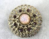 Jelly Opal Brooch Vintage Purple Rhinestones Filigree