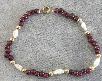 Beautiful Garnet Fresh Water Pearl 14K Bracelet Handcrafted January Birthstone