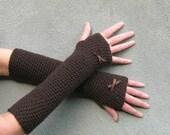 long fingerless gloves/ espresso brown wool crochet