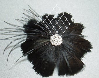 Black Feather Hair Clip Wedding Hairpiece Bridal Flower Bridesmaid