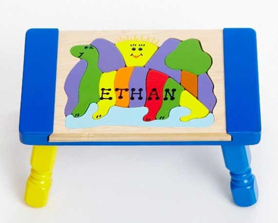 Personalized Dinosaur Name Puzzle Step Stool With