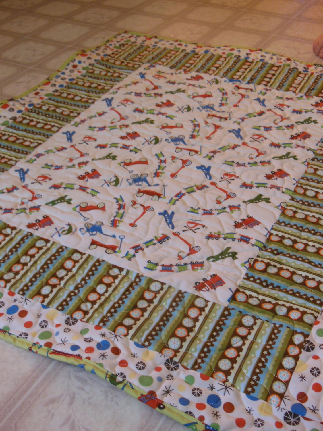 Baby boy quilt with riley blake fabrics by quiltedbyheather for Quilt material for boys