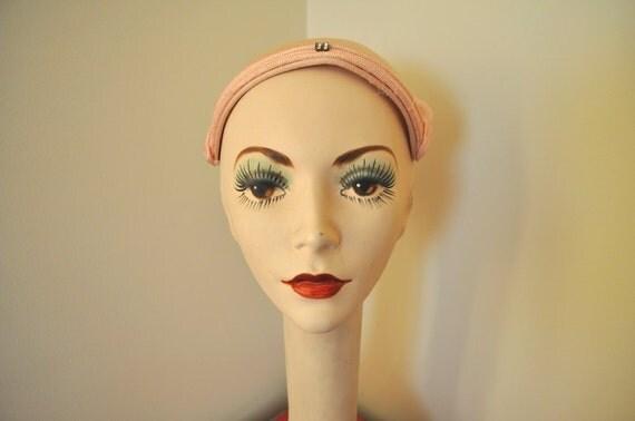vintage cap 1950s light pink hat