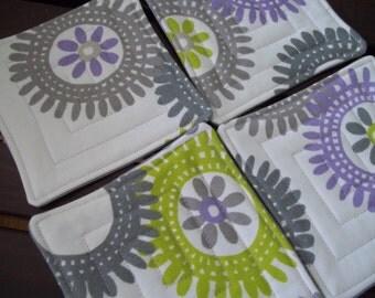 Fabric Coaster Set of 4 Modern Floral Medallion