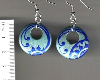 Handpainted wooden earrings -Floral sun