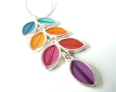 Colorful long vine necklace , silver , resin inlay