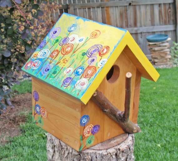 Bird House A Persnickety Floral Bird House in by PersnicketyHome