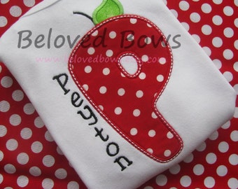 Girls Back to School Apple Alphabet Frill Shirt- preschool-grade school