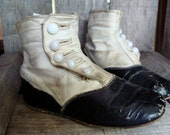 Antique Old  Edwardian Gorgeous High Button Boots for Large Child