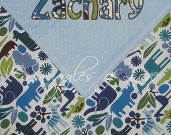 Minky Baby Blanket - 2D Zoo Pool - APPLIQUED BLANKET - Includes Personalization - Cotton and Minky Blanket - Blue Zoo Animals Blanket
