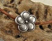Pretty Petals - Unique  Metal Shank Button  - Three Pieces - Perfect For Leather Wrap Bracelets - Large (B49)