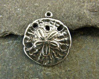 Beachcomber - Sterling Silver Sand Dollar Charm or  Petite Pendant - One Piece - cbcsd