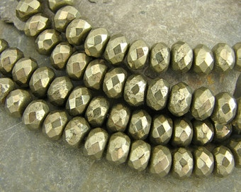 Faceted Pyrite Rondells - For When You Only Need A Few - Ten Pieces