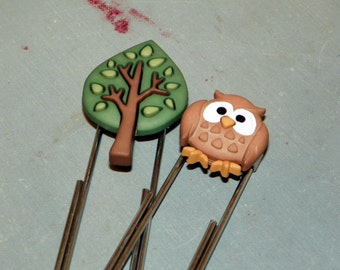 Owl and Tree Bookmark Paperclip Set, Gift for Teacher, Gift for Student, Gift for Book Lover
