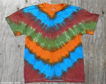 Mother Earth V-Stripe Tie Dye T-Shirt (Size L) (Fruit of the Loom) (One of a Kind)