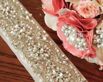"Wedding Belt 17"", Bridal Sash, Pearl Sash, Rhinestone Sash, Bridal Belt, Wedding Sash Belt, Beaded Bridal Sash"