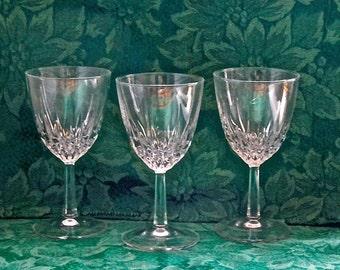 3 Cristal D'Arques Diamont Claret Wine Glasses