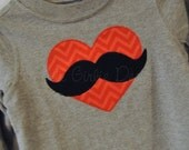 Mustache valentine shirt. Heart and mustache applique. Boy's or girl's. Sizes NB to 10/12. Other color options available.