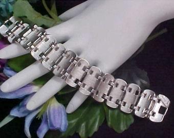 Great Reduction ~ MARBOUX  -  Elegant Silver rhodium Plate Wide Link Bracelet  - Signed & Numbered MARCEL BOUCHER