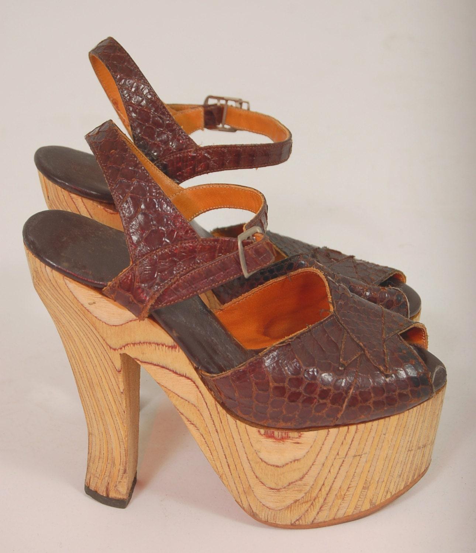 reserved for kjklink vintage 70s platform shoes by