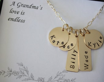 Personalized Mothers Necklace Gold, Grandma Personalized Gift, Mom Necklace, Name Charm Gold, Mothers Day Gift, Nana
